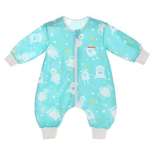 YFCH Baby/Kinder Jungen/Mädchen Schlafsack Kinderschlafsack Langarm Schlafsack Baumwolle Musselin Babyschlafanzug Schlummersack mit Bein, Weiß Roboter auf Eisblau, 62/68(Label: - Roboter Füße Kostüm