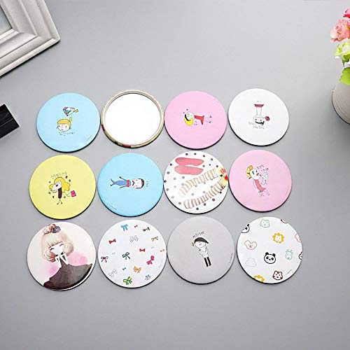 Portable Girls Ladies Lovely Cute Cartoon Hand Pocket Cosmetic Round Mirror Random Color - Pocket Cosmetic Mirror