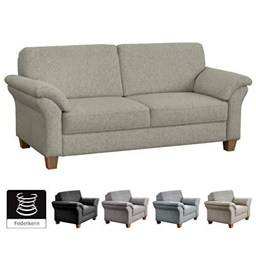 CAVADORE 3-Sitzer Byrum im Landhausstil / Naturfarbenes Landhaus Sofa mit Federkern / 186 x 87 x 88 / Strukturstoff Beige