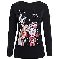 LILICAT☃ Mujeres Navidad 3D Elk Imprimir Casual Manga Larga Top Cremallera Puntos Imprimir Tops Sudadera con Capucha Pullover Blusa Camiseta