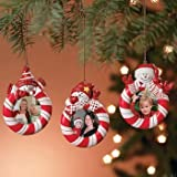 Set of 3 Peppermint Candy Red White Striped Snowman Christmas Tree Photo Picture Frame Ornaments