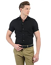 Indian Terrain Mens Solid Slim Fit Casual Shirt (CORE-ITSHC225-8907633150107_Black_L)