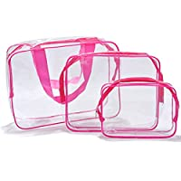 Txian 3 x CLear Hand Pouch Bag Made Of Waterproof PVC Materials With Zipper Ideal For Travel Cosmetic Bag Outdoor Sports Hiking Wash Bags (Red)