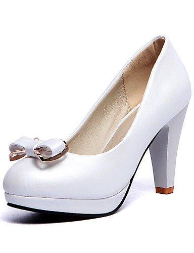 WSS 2016 Chaussures Femme-Extérieure / Décontracté-Noir / Bleu / Rose / Blanc-Talon Cône-Talons / A Plateau / Confort / Bout Arrondi-Talons-Cuir black-us6 / eu36 / uk4 / cn36