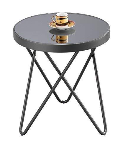 Glas Metall-beistelltisch (Aspekt Puccini Glas rund Seite Kaffee End Lampe Tisch, Metall, Spiegel, anthrazit/grau, 42,5x 42,5x 46cm)