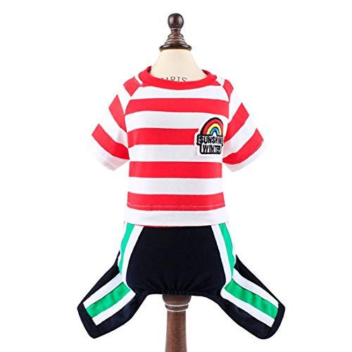 Cvthfyk ed Hundekleidung tragen T-Shirt Fußball Jerse Sommer Streifen kleine mittlere Größe Luft Sonnenbrise Barrier Tether Spaziergang zu Fuß Diät Übung (Color : Red, Size : M) -