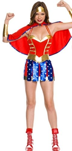 New Frauen 'S 4Stück Wonder Woman Superhero Fancy Dress Hen Night Halloween Party Größe UK 10–12EU (Dress Superhero Uk Fancy)