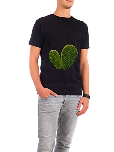 """Design T-Shirt Männer Continental Cotton """"Cactus Heart"""" - stylisches Shirt Abstrakt Floral Natur Essen & Trinken von Paper Pixel Print Schwarz"""