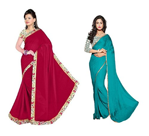 RoopSangam Special Combo Of 2 Chiffon Sarees Of Net And Printed Blouse (Golden Lacy And Printed Lacy Border)