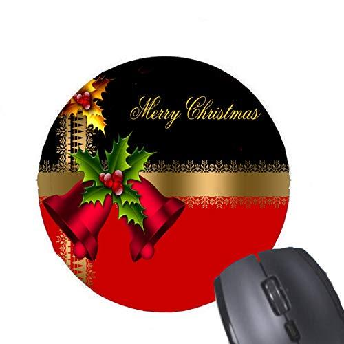 Frohe Weihnacht-Feiertags-rotes Bell-Schwarz-Goldrunde Mausunterlage Bt Bell