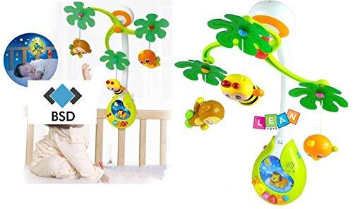 Baby Mobile TROPICAL FOREST mit Licht und Musik - Night Mobile - Kinderbett Mobile - Musikal Mobile - Nachtlicht Mobile - Mobile mit Licht - Babyspielzeug - Musikmobiles - Musik Drehmobile mit 3 Tiere - Biene, Affe und Vogel (Karussell Kinderbett)