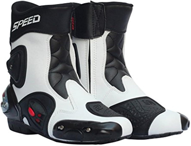 perfk Calzado Deportivo Montando Cómoda Motociclista Hombres Zapatos Protección Talón - Blanco 41