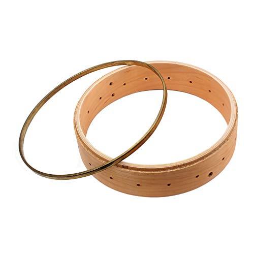 SUPVOX 1 Satz Banjo Felge Und Hoop Messing Banjo Oblate Spannreifen aus Holz Banjo Felgenteile Banjo Spannzubehör für Luthier Banjo -