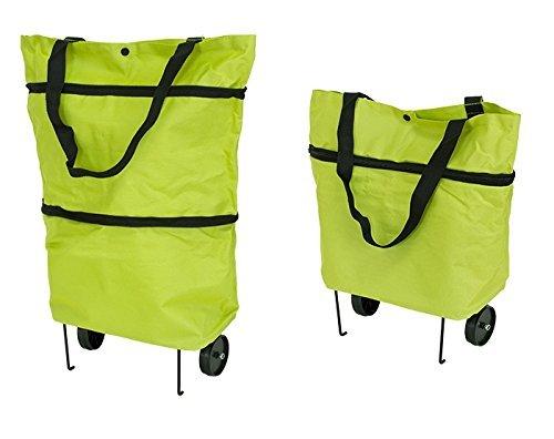 PREMIUM Einkaufstasche mit klappbaren Rädern und Stützen (faltbar - leicht - wasserabweisend) Shopping Bag Einkaufstrolley Räder Tasche Trolley Green Grün