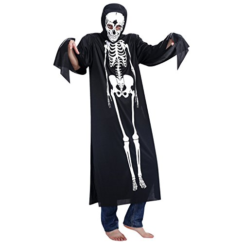 StarTreene Halloween Schädel Skelett Kostüm Poncho Maske Set -