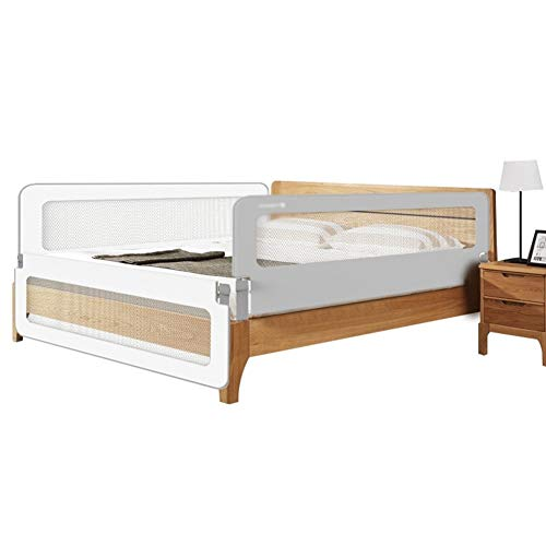 CQILONG-Bettgitter Fallschutzgeländer Für Kinder Am Bett Klappbett Zaun Unsichtbarer Knopf Universalbett, 2 Farben 3 Größen (Color : Gray, Size : 200X180X68CM)