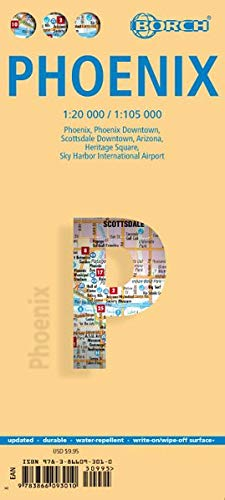 Phoenix, Borch Map: Phoenix, Phoenix Downtown, Scottsdale Downtown, Arizona, Heritage Square, Sky Harbour International Airport (Borch Maps)