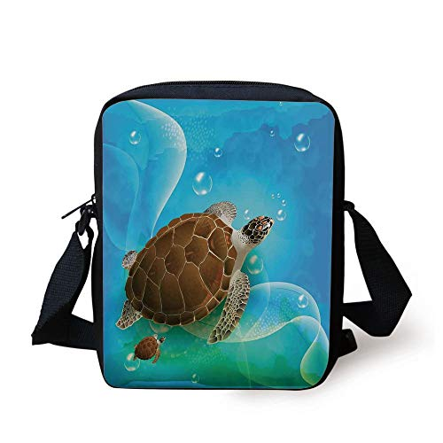 CBBBB Ocean Decor,Turtle Family Swimming in The Ocean Bubbles Underwater World Cartoon Fun Artwork,Green Blue Brown Print Kids Crossbody Messenger Bag Purse