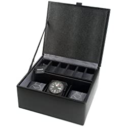 3 Piece Leather Watch and Cufflink Box Black