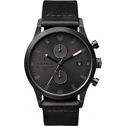 Triwa Mens Black Chronograph Dial Black Leather Strap LCST105-CS010113