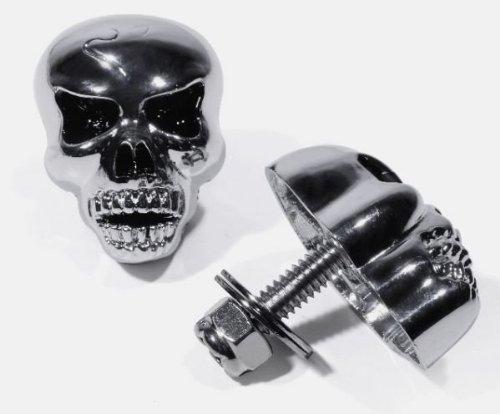 Totenkopfschrauben XL, große Platte, Chrom, Metall, Chopper-Black