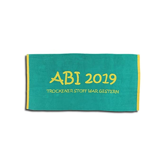 Jacquard Strandlaken Strandtuch ABI 2019 Türkis Lime Abitur Geschenk 80x160 cm 1