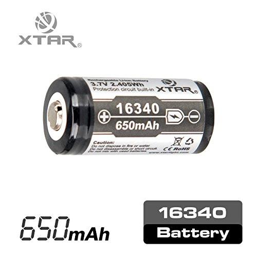 Galleria fotografica XTAR RCR123A (16340) da 650 mah Pin Sporgente Button Top 1 pz
