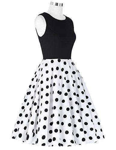 50er jahre kleid vintage rockabilly kleid partykleider hepburn stil polka dots kleid damen swing kleid XL CL0463-2 - 6