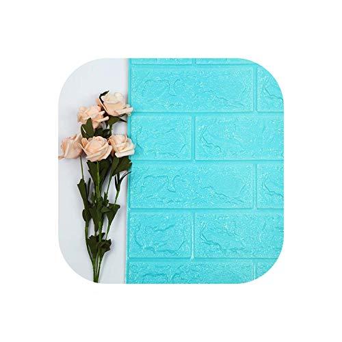 Strawberryran Dekorative Fliesen 3D Self-Adhesive Wandpaneele Faux-Schaum Bricks Hintergrund der Tapeten-Wand-Dekor, 0 Blau, 5 Stück -