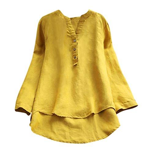 IMJONO Damen Chiffon Bluse V-Ausschnitt Henley Shirt Casual Langarm Oberteile (EU-38/CN-L,Gelb)