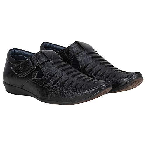 Emosis Men's Outdoor Formal Casual Ethnic Loafer Slip-On Sandal Shoe (Size: 8 UK, Color: Black)