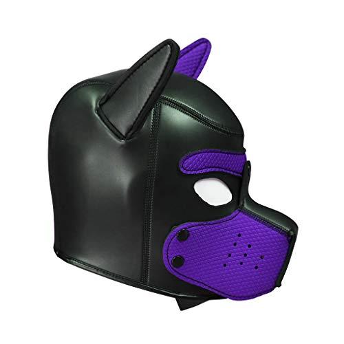 AMhomely Erwachsener Maskenpartner Sexy Cosplay Rollenspiel Hund Volle Kopfmaske Gepolsterte Rubber Puppy Maske weich Halloween Welpengummi Maske (Lila) (Hund Halloween Maske)
