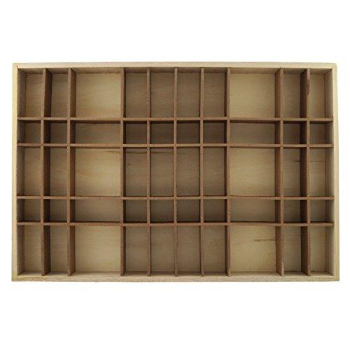 Holz Setzkasten mit 50 Fächer 60 x 40 cm (natur/braun)