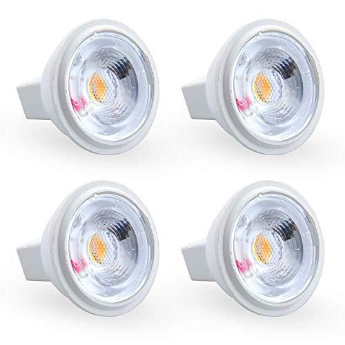 3 W 12 V MR11 GU4 LED-Leuchtmittel, warmweiß, 3000 K, 20 W-35 W, Halogen-Leuchtmittel, entspricht 38 Grad GU4.0 Bi-Pin Sockel, nicht dimmbar, COB MR11 35 mm LED-Strahler für Einbaustrahler (4 Stück) - 20 W Bi-pin-sockel