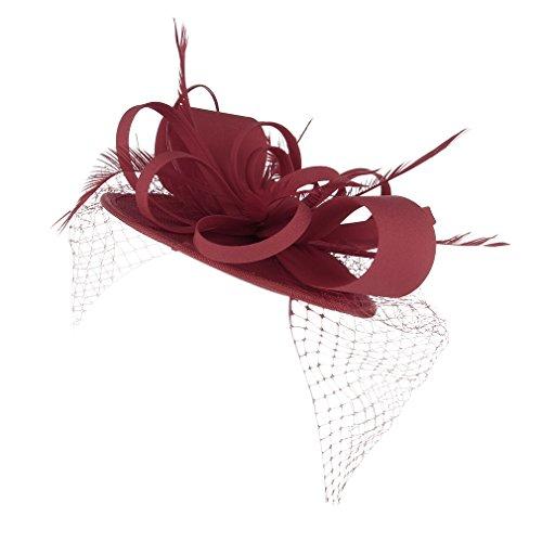 Y-BOA Fleur Chapeau Bibi Voile Plume Cheveux Accessoire Cérémonie Femme RougeB