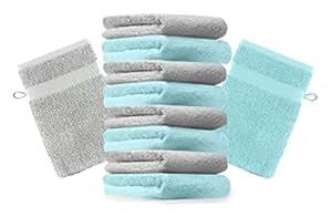 10er Pack Waschhandschuhe Waschlappen Premium Farbe Silber Grau & Türkis Größe 16x21 cm Kordelaufhänger 100% Baumwolle