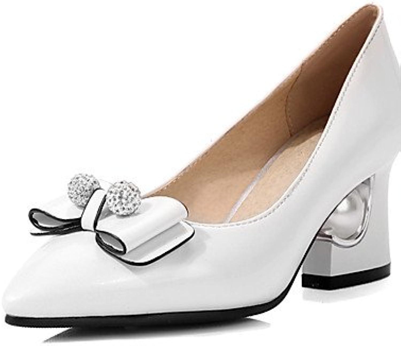 GGX/Damen Schuhe Winter Heels/spitz Toe Heels Hochzeit Kleid Chunky heelbowknot/funkelnden Glitter/