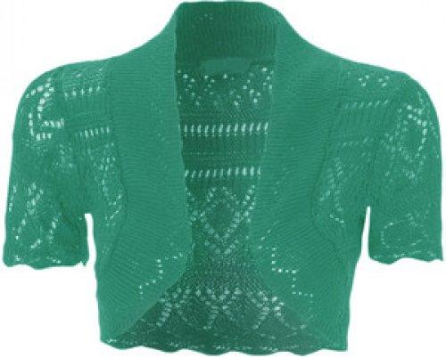 nouvelles dames tricot crochet filet de pêche boléro haussements d'épaules culture Jade Green