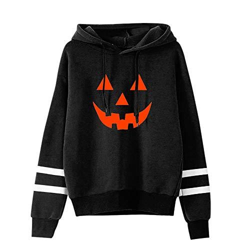 llover Halloween Kostüme Damen Kürbis Sweatshirts Gruselige Kürbis Schnitzeln Sweatshirt 3D Hoodie mit Kapuzen Printed Pulli Damen Halloween Party Shirt mit Kürbis (Schwarz, 38) ()