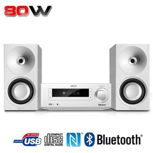 AKAI - AMBT 67W - Micro Chaine - Tuner FM Digital - CD -MP3 -Bluetooth - NFC - 80 W - Blanc