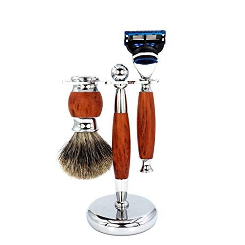 Manuelles Rasiermesser-Rasierset, 3-teiliges traditionelles Rasierset mit Pinsel, Rasiermesser, Ständer, Perfektes Geschenk für Männer,A -
