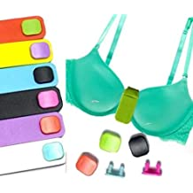 5 COLORFUL PLASTIC FITBIT CLASPS + Fashion Fabric Bra Holder SECURE clip for Fitbit Flex Wristband Wireless Activity Bracelet Fit Bit Flex Arm Band. NOT FOR FITBIT CHARGE, fits bra middle up to 2 inches