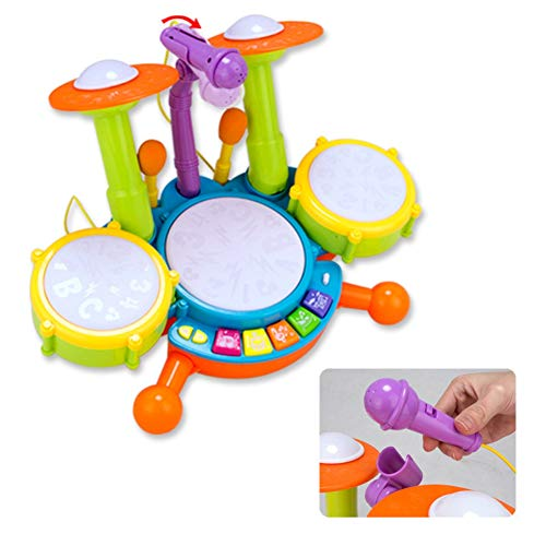 BOBORA Tambor Infantil Set de Batería Instrumentos Musicales Juguete Musical Educativo Electrónico para Niños Bebé