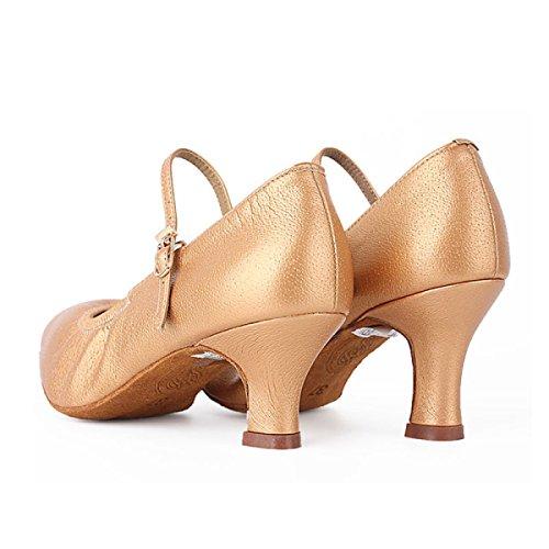 Scarpe Professionista Latino Della Ragazza Delle Donne Satin Sandali Superiore Salsa / Ballroom Dance Shoe Med (altri Colori) Gold