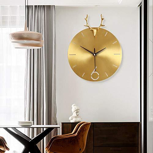 Yikuo Wohnzimmer Moderne Hause Hängenden Tisch Reinem Kupfer Kreative Hirschkopf Dekorative Uhr Quarzuhr Nordic Uhr Wanduhr, 36 * 29 cm Anmut