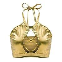 Women Sexy Metallic Halter Bikini Tank Crop Top Bra Party Clubwear Golden XL