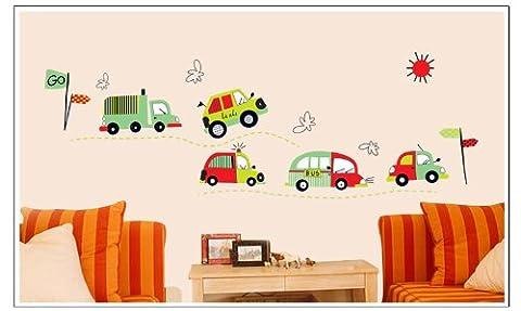 zooarts Cartoon voiture amovible en vinyle pour espace Sticker mural