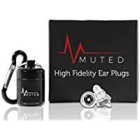 MUTED Ear Plugs: Made from Soft Silicone. Hearing Protection Ideal for Concerts, Musicians, DJ, Drumming, Sleeping on Flights, Shooting, Singers etc. High Fidelity Earplugs with Carry Case