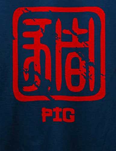 Chinese Signs Pig T-Shirt Navy Blau