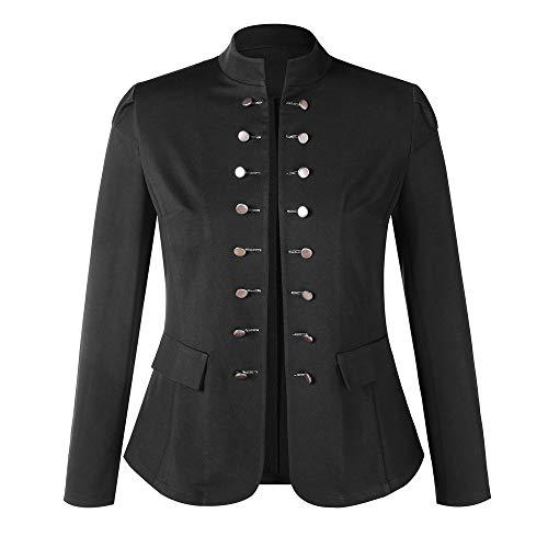 AmyGline Damen Mantel Jacke Outwear Uniform Buttons Mantel Damen Steampunk Vintage Volltonfarbe JackeGothic Uniform Kostüm Praty Outwear Button Damen Jacken